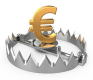 Euro crisis concept. Isolated on white. 3D image Stock Photography