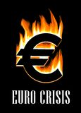 Euro crisis concept. Showing a flaming burning Euro symbol on a black background. Vector illustration Stock Images