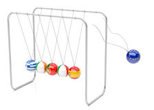 Euro Crisis Newton Cradle Royalty Free Stock Photo