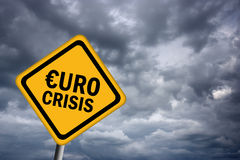Euro crisis sign. Financial concept Royalty Free Stock Photography