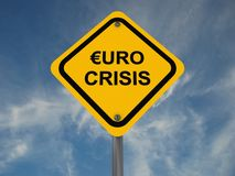 Euro crisis sign. With cloudscape background Stock Image