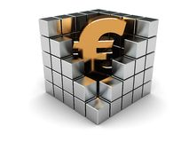Euro in cube. Abstract 3d illustration of euro sign in steel cube Stock Photos