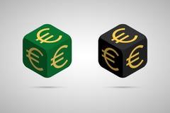 Euro Cubo euro verde y negro Imágenes de archivo libres de regalías