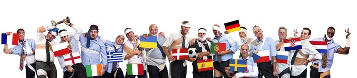 Euro Cup 2012. Group of injured businessmen with flags in Euro cup 2012 Royalty Free Stock Image