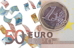 Euro curency. A euro currency background with falling euro notes Stock Photo