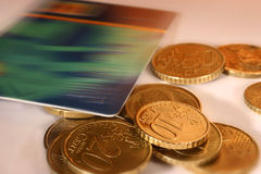 Euro currency. And credit card royalty free stock image