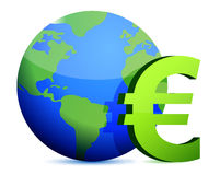 Euro currency around the globe Stock Image