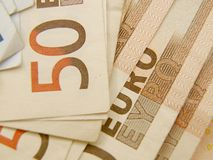 Euro currency banknotes Royalty Free Stock Photos