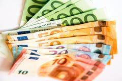Euro banknotes. Euro currency banknotes, close up macro Royalty Free Stock Photography