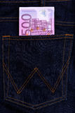 Euro currency banknotes in jeans pocket Royalty Free Stock Photos