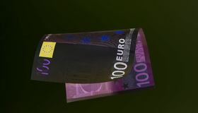 Euro currency (banknotes ) in UV light protection.  Stock Image