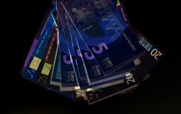 Euro currency (banknotes ) in UV light protection.  Stock Photo