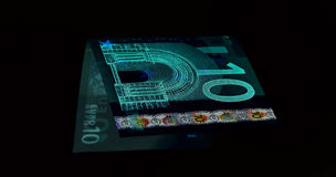 Euro currency (banknotes ) in UV light protection.  Stock Images
