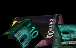 Euro currency (banknotes ) in UV light protection.  Royalty Free Stock Photo