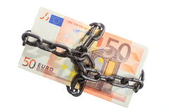 Euro currency with chain for security and investment Royalty Free Stock Photo