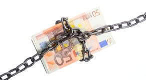 Euro currency with chain for security and investment Royalty Free Stock Image
