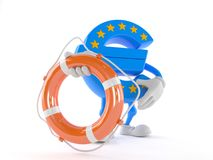 Euro currency character holding life buoy. Isolated on white background Royalty Free Stock Photo