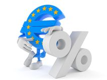 Euro currency character with percent symbol. On white background Stock Images