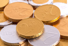 Euro currency, chocolate coins Royalty Free Stock Photography