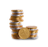 Euro currency, chocolate coins isolated on white Stock Photos