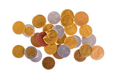 Euro currency, chocolate coins isolated on white Royalty Free Stock Photos