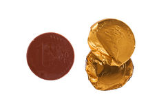 Euro currency, chocolate coins Royalty Free Stock Images