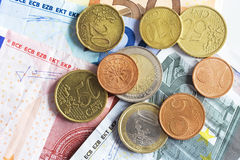 Euro currency and coin Stock Photo