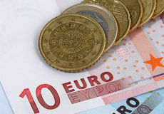 Euro currency coins and bank notes. Business concept Stock Photography