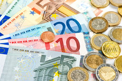 Euro currency. coins and banknotes. cash money. Background Royalty Free Stock Images