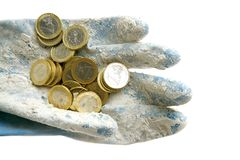 Euro currency coins over dirty gloves. Dirty money metaphor. Euro currency coins over dirty gloves Stock Photos