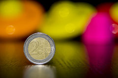 Euro. Currency with colorful background royalty free stock photo