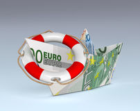 Euro currency, concept of safe investment. One paper boat made with euro banknotes, and a lifebelt, concept of safety (3d render Stock Photography