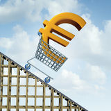 Euro Currency Decline. Financial concept as a three dimensional european money icon in a shopping cart going down a roller coaster as an economic symbol for a Royalty Free Stock Photography