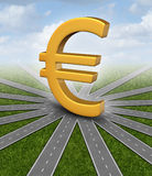 Euro Currency Direction. Euro direction currency concept and financial guidance symbol as a european money icon in the middle of radial converging paths as Stock Image