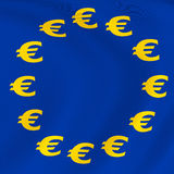 Flag of Euro-Currency. Euro currency flag. Computer generated image Royalty Free Stock Photography