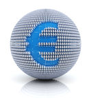 Euro currency icon on globe formed by dollar sign Stock Images