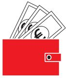 Euro currency icon or logo  on notes popping out of a wallet. Royalty Free Stock Photography
