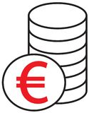 Euro currency icon or logo  over a pile of coins stack. Symbol for European Union bank, banking or Europe Eurozone finances Royalty Free Stock Images