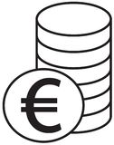 Euro currency icon or logo  over a pile of coins stack. Symbol for European Union bank, banking or Europe Eurozone finances Stock Images