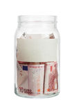 Euro currency in a jar Royalty Free Stock Image