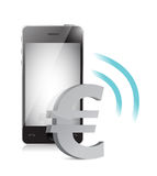 Euro currency management on a mobile phone Stock Photography