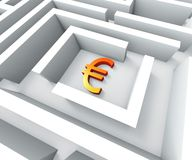 Euro Currency In Maze Shows Euros Credit Royalty Free Stock Images