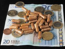 Euro currency and medicine Stock Photo