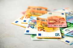 Euro currency money banknotes background. Payment and cash concept. Announced cancellation of five hundred euro. Banknotes. Top view Stock Photography
