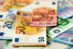 Euro currency money banknotes background. Payment and cash concept. Announced cancellation of five hundred euro. Banknotes. Top view Royalty Free Stock Photography
