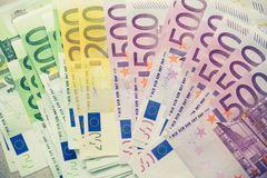 Euro currency money banknotes background. Payment and cash concept. Announced cancellation of five hundred euro. Banknotes. Top view. Toned image Stock Photography