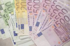 Euro currency money banknotes background. Payment and cash concept. Announced cancellation of five hundred euro. Banknotes. Top view Stock Images