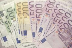 Euro currency money banknotes background. Payment and cash concept. Announced cancellation of five hundred euro. Banknotes. Top view Royalty Free Stock Photo