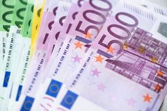 Euro currency money banknotes background. Payment and cash concept. Announced cancellation of five hundred euro. Banknotes. Top view Royalty Free Stock Image