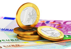 Euro currency money coins and paper banknotes. Creative abstract business success, financial management, banking and accounting concept: macro view of the set of Stock Images